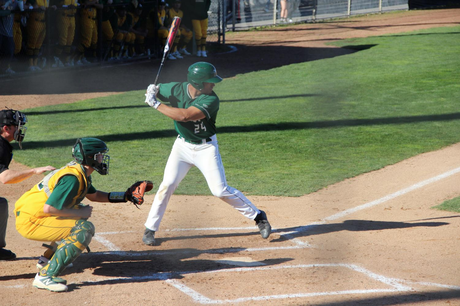 Catcher John Anthon bats in the first inning against Napa Valley College at Diablo Valley College in Pleasant Hill, California on February 6, 2018.