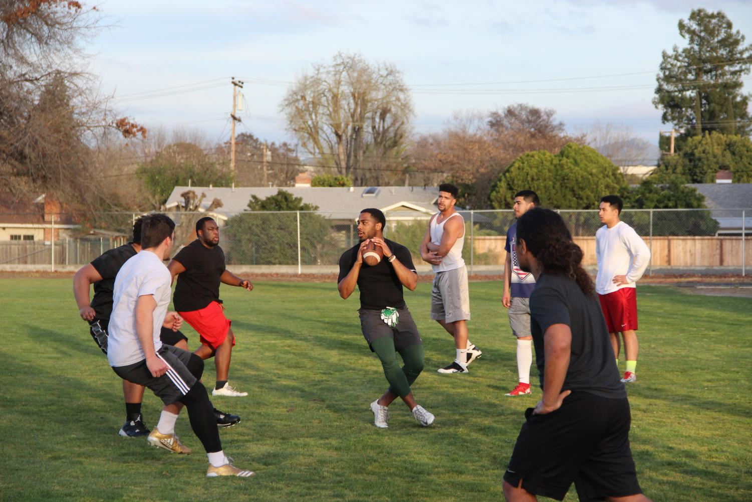 Vikings participate in offensive drills at Diablo Valley College in Pleasant Hill on March 8, 2018.