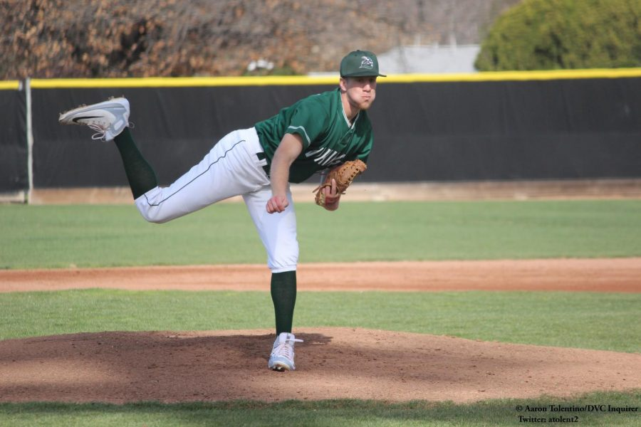 Pitcher Rob Towne against Cosumnes River College at Diablo Valley College in Pleasant Hill on March 6, 2018.
