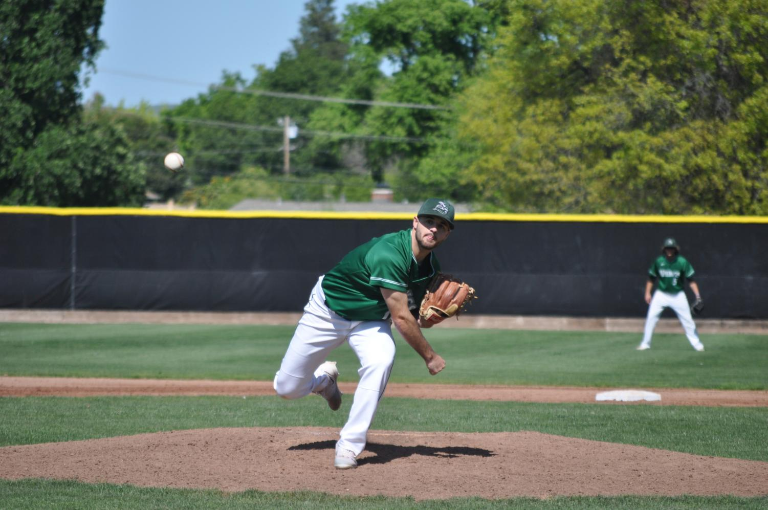 Pitcher Evan Gravenmier during his start against American River College in Pleasant Hill on April 13, 2018.