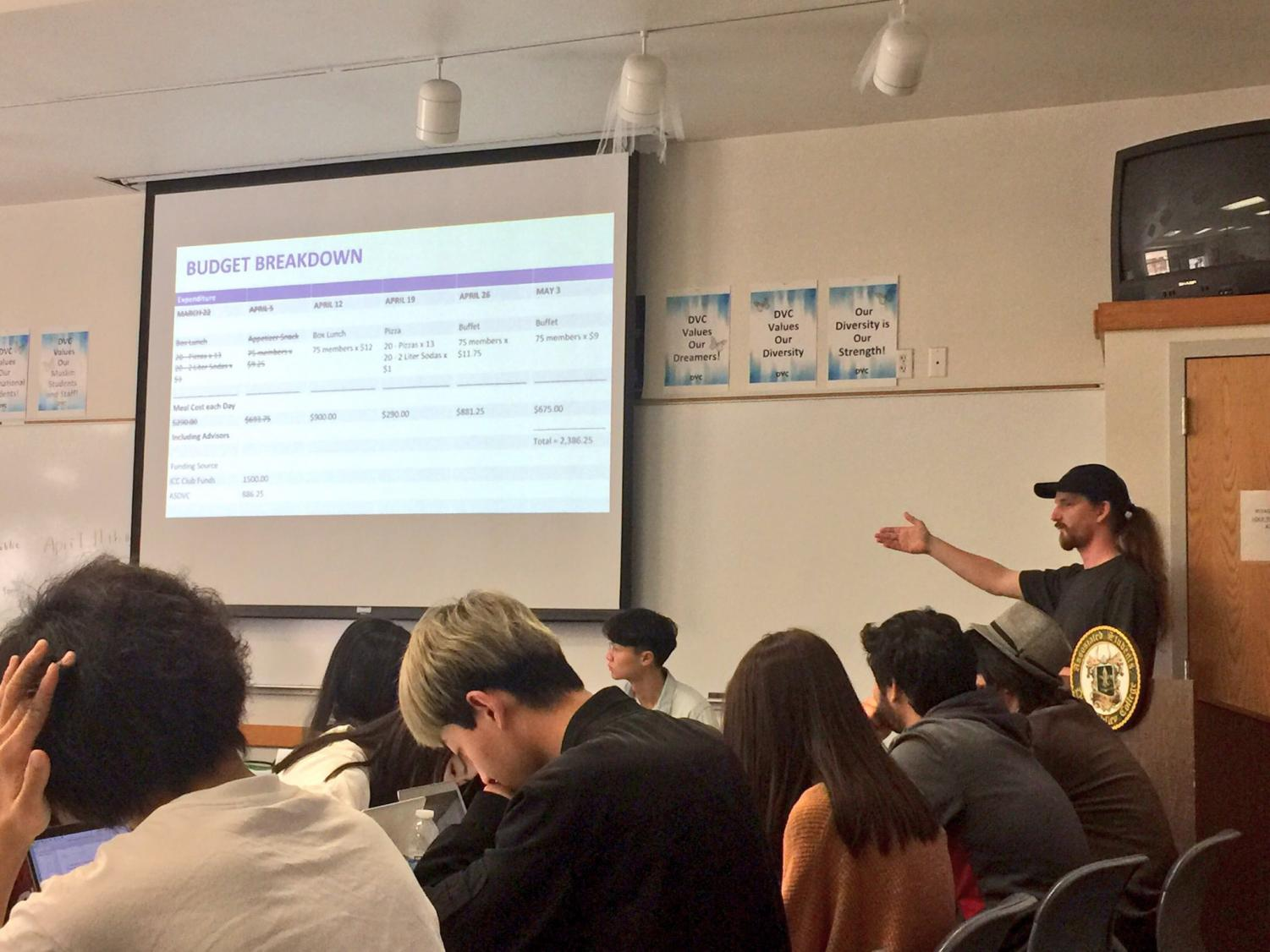 Peter Swenson presents budget breakdown for providing meals to ICC meetings at the Margaret Lesher Student Union on April 03, 2018.