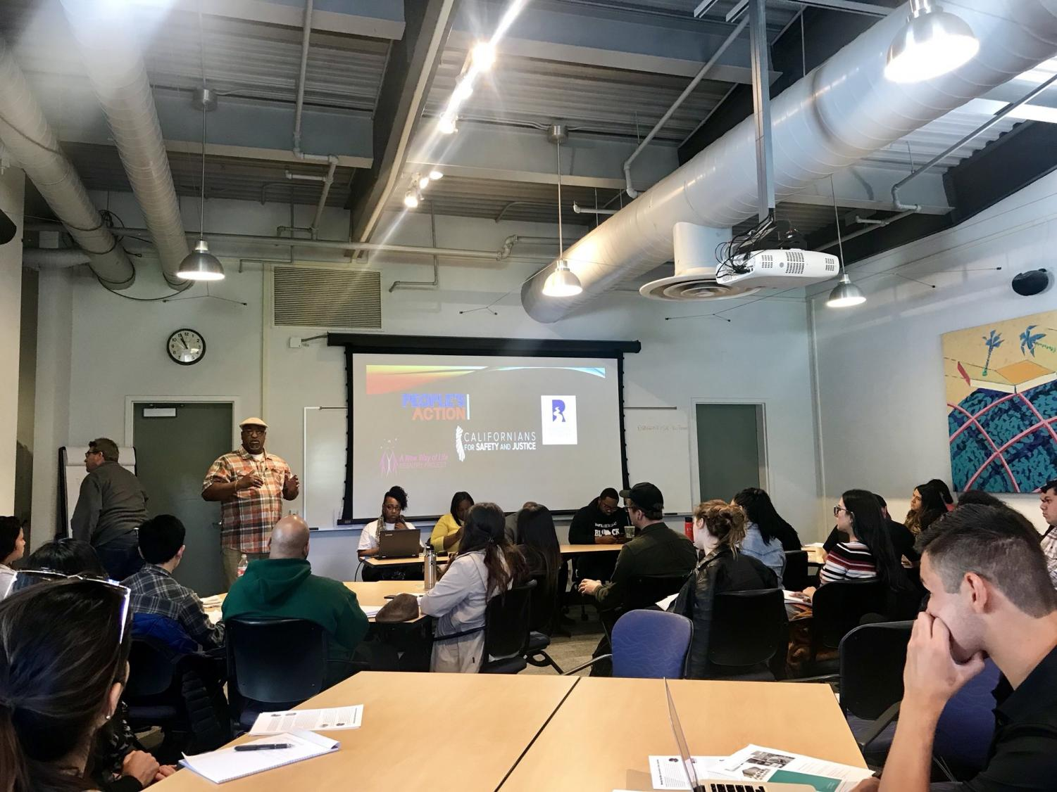 Jerry Elster speaking in the Community Conference Center at Diablo Valley College on April 13, 2018.