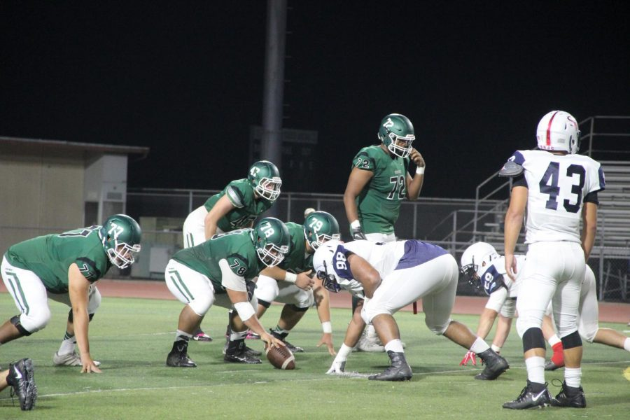 Vikings' offensive line faces off against Santa Rosa in Pleasant Hill on October 27, 2017.