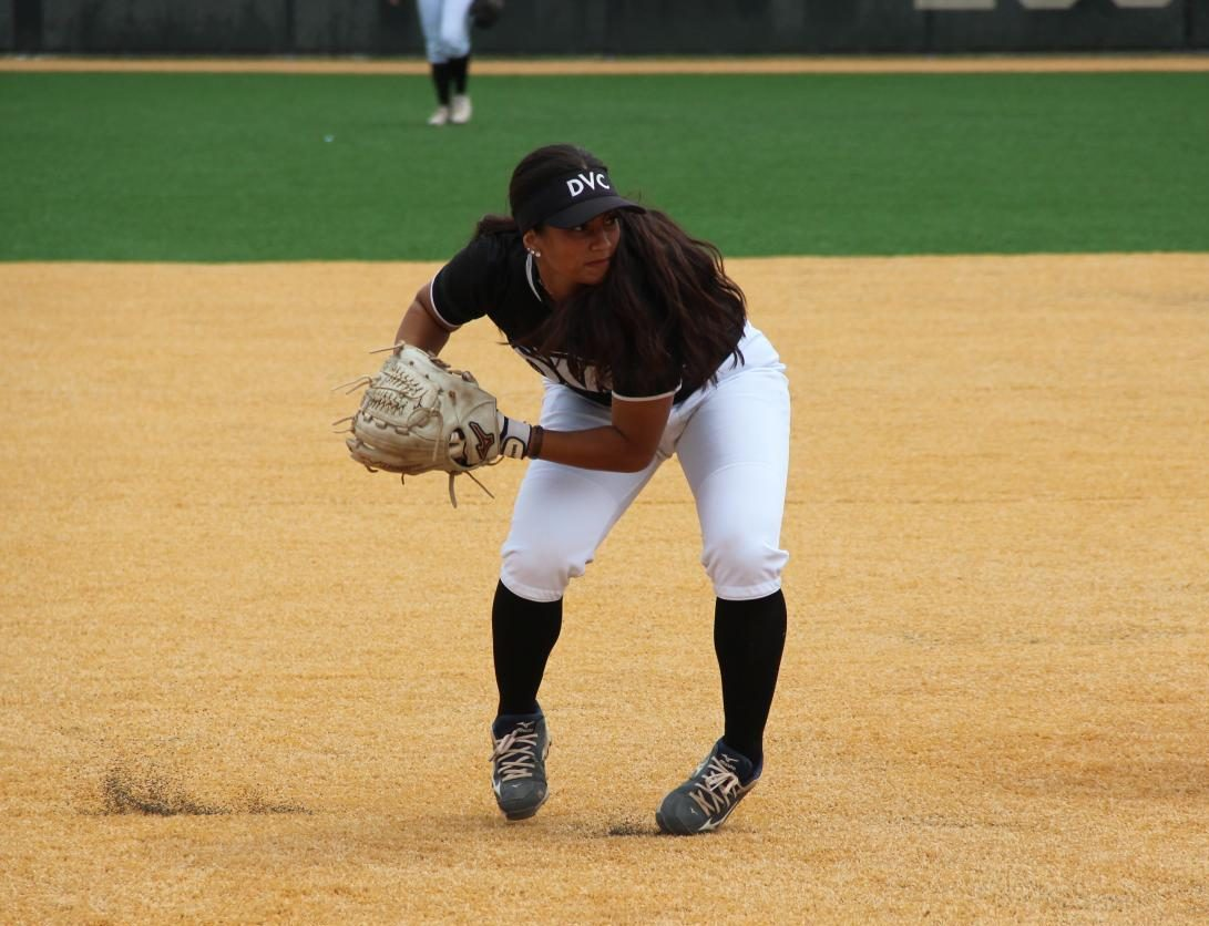 Third baseman Mariah Schuchart picks up a ground ball for the out in the playoffs against Ohlone College in Fremont on May 5, 2018.