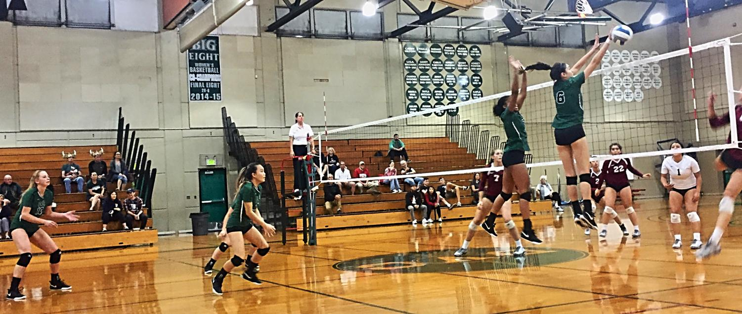Pin hitter, Gabby Chase gets a block against Sierra College on Wednesday, Oct. 17, 2018. (Isabel Villalobos/The Inquirer)
