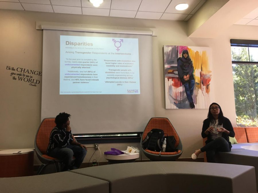 From left to right, Daphnee Valdez and Niq Muldrow speak to students on behalf of the Rainbow Community Center regarding the disparities of the LGBTQ+ and transgender community. The workshop took place on Oct. 24 in the Student Life center. (Emma Hall/The Inquirer).
