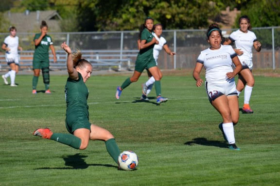 Midfielder Savannah Christopher prepares a shot against Sacramento City during the match on Friday Oct. 12 2018. (Gavin Rock/The Inquirer)