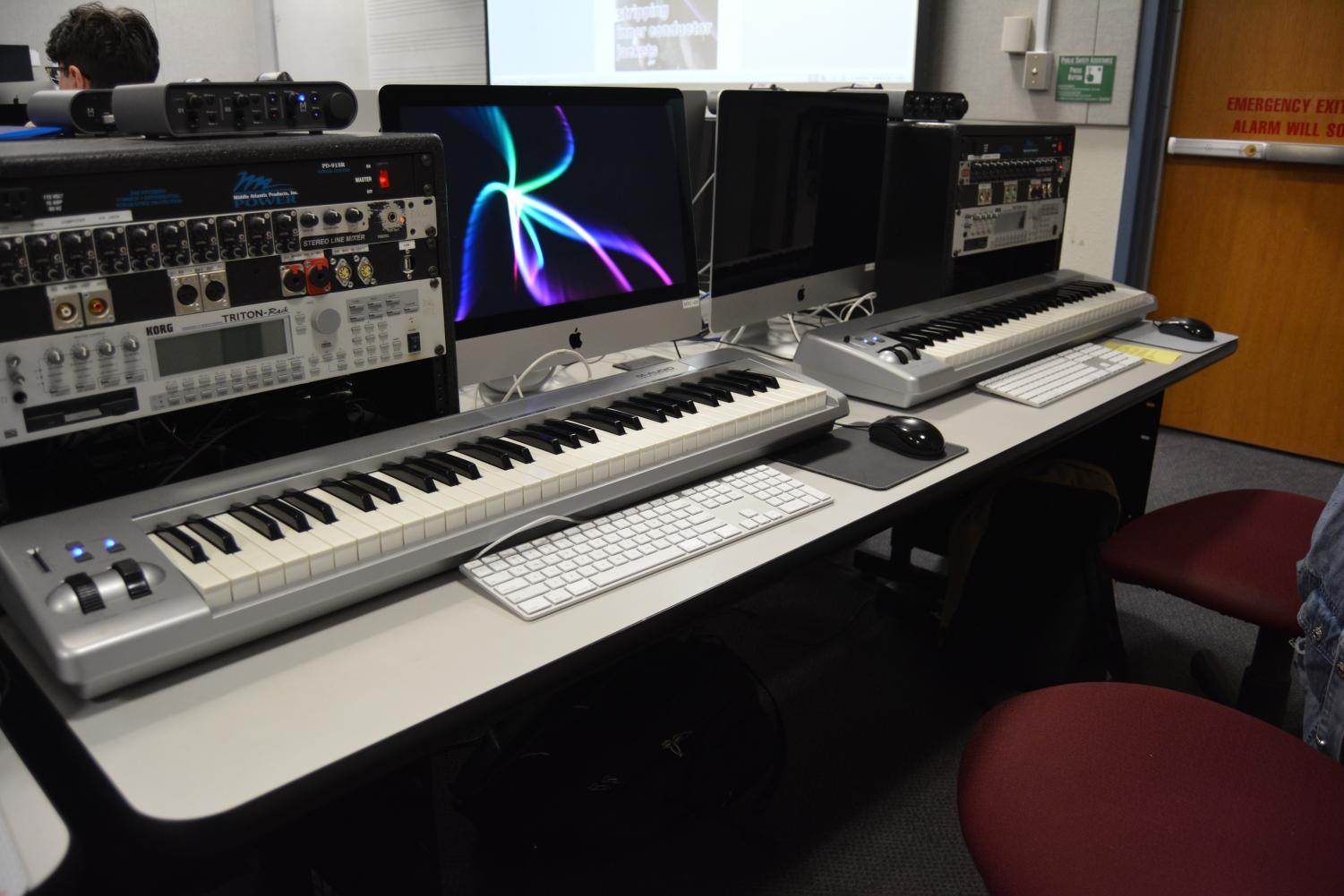 Audio visual equipment that students use in class. DVC Music Building. (Samantha Laurey/The Inquirer).