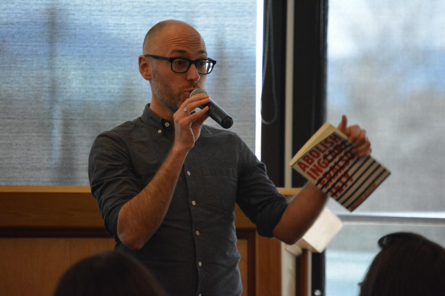 Dr. Andrew Dilts discusses how abolition plays into the fight against incarceration on Feb.28 in the Diablo Room. (Samantha Laurey/The Inquirer).