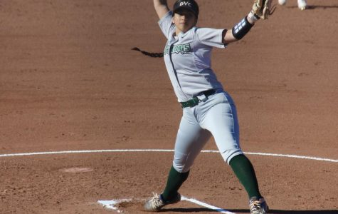 Sophomore Mariah Schuchart pitches for DVC vs Cabrillo Feb. 21  (Samantha Laurey/ Inquirer)