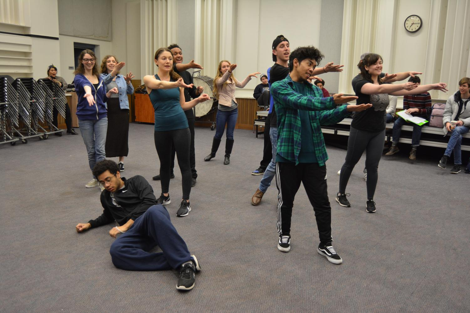 Drama students rehearsing song piece in the music building at DVC Pleasant Hill campus. (Samantha Laurey/The Inquirer)