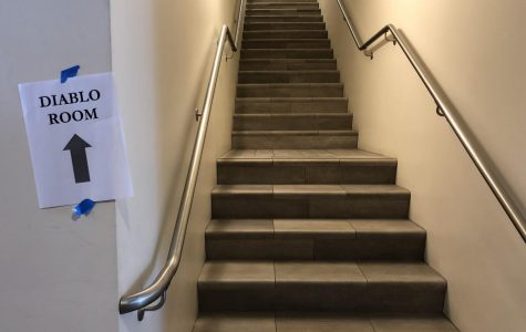 The staircase leading up the Diablo Room. The DVC Inquirer was advised to not take photography to provide a safe space for students. (Samantha Laurey/The Inquirer).