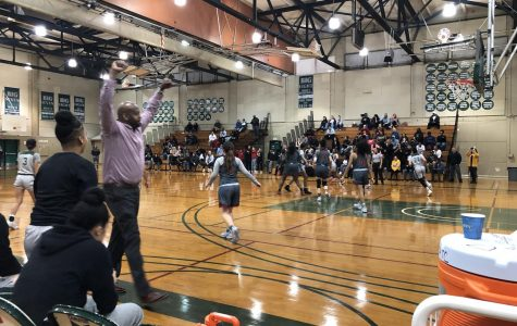 Head coach Vaugh celebrating the win against Sacramento City College at DVC in the third round of the NorCal Regional Playoffs on Mar 9, 2019. The Vikings won 54-50. (George Elias/DVC inquirer