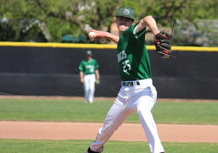 Pitcher Nick Krauth winds up a pitch in their home game against Folsom Lake on April 18, 2019. The Vikings won 6-0. (Samantha Laurey/Inquirer)
