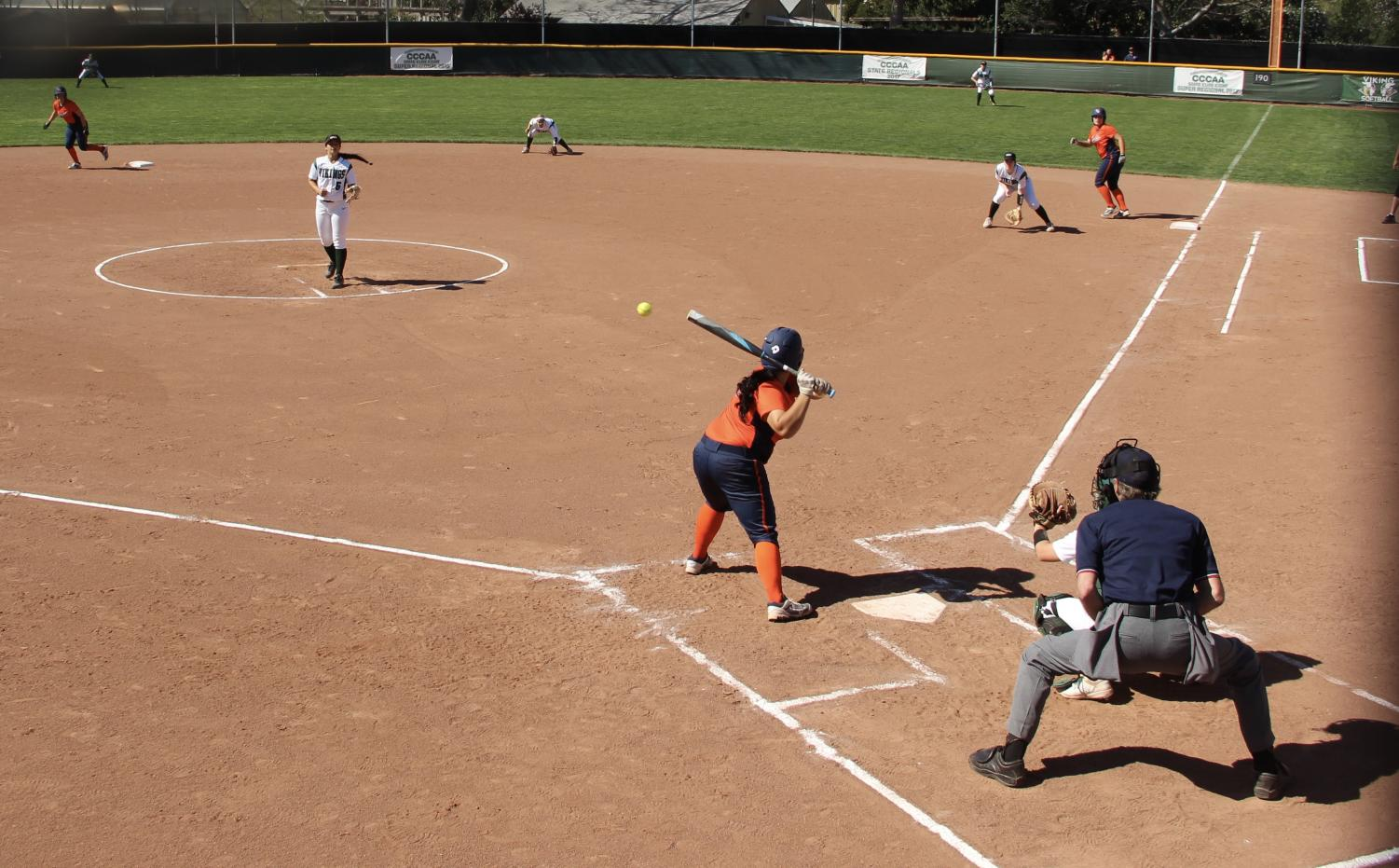 Diablo Valley College Softball team stands ready on defense against Cosumnes College on April 9, 2019. The Vikings lost 4-6. (Isabel Villalobos/ Inquirer)