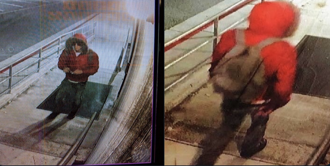 The individual suspected of tagging two campus buildings is described  a white male between 20 and 30 years old standing about 5 feet 8 inches. This footage was recorded at 4:30 a.m. (Photo courtesy of Lieutenant Ryan Huddleston).