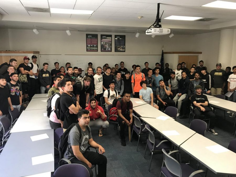 Students interested in joining a men's soccer team at DVC met up in Margaret Lesher Student Union to start the long process of creating one. (Pavlina Markova/The Inquirer)