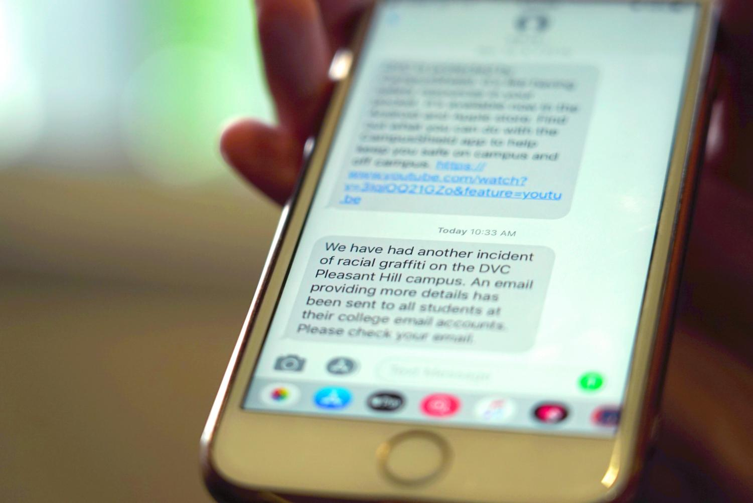 A mass text was sent out to DVC students today at 10:33 a.m., however some students report that the receive no notification. (Ethan Anderson/The Inquirer).
