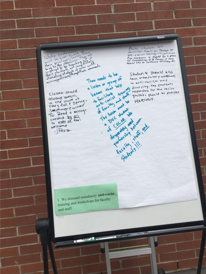 The Racial Task Force posted boards of sheet paper asking for students to add comments to the student demands brought forward in March. These boards were put in front of the Crow's Nest and in the Commons on Monday, May 6. (Emma Hall/The Inquirer).