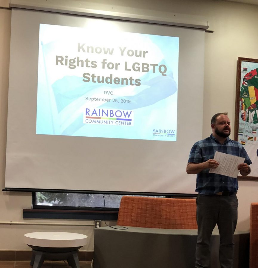 Kelsey Pacha, a representative for The Rainbow Community Center, visited DVC on Sept. 25 to teach students about LGBTQ+ rights. (Micheal Sullivan/The Inquirer).