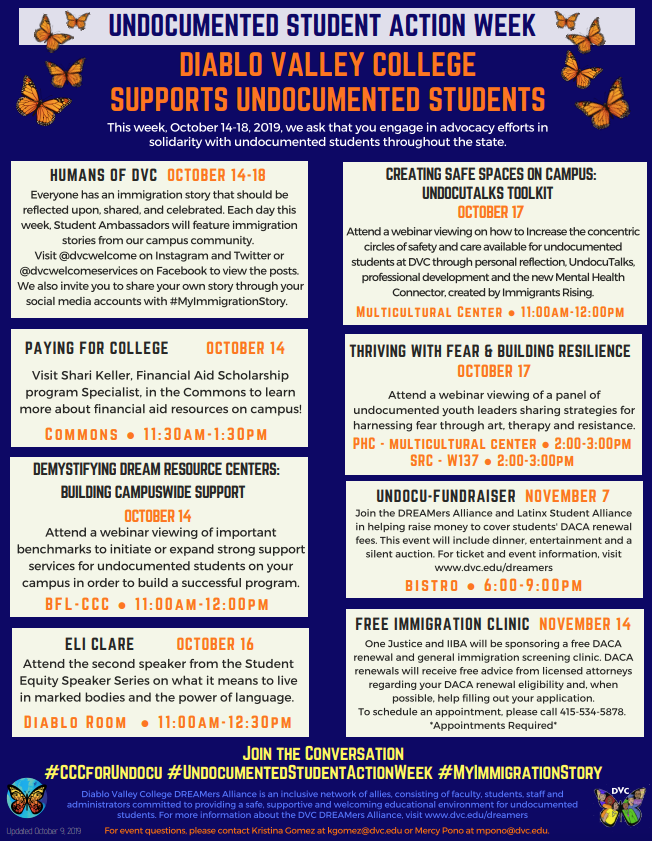 The Undocumented Student Week schedule that was hosted by Diablo Valley College. (Photo courtesy of DVC).
