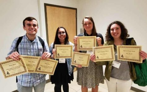 (Left to right): Staff member Eric Dionne, editor-in-chief Emma Hall, features editor Pavlina Markova, and staff member Aryana Hadjimohammadi at the Northern California Journalism Conference of Community Colleges at San Jose state on Nov. 16. (Photo courtesy of Fernando Gallo).