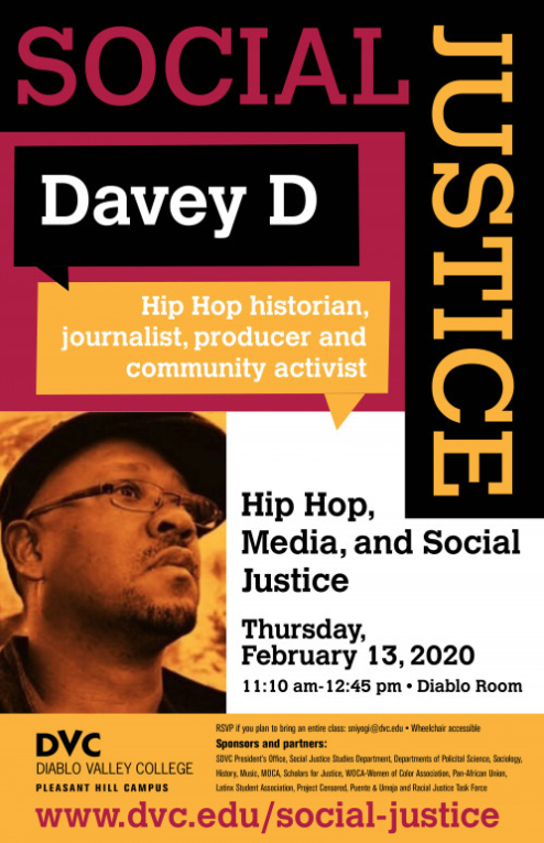 "Hip-hop journalist Davey D presented ""Hip-hop, Media & Social Justice,"" marking the start of the spring Social Justice series at the college. (Photo credit: Diablo Valley College)"
