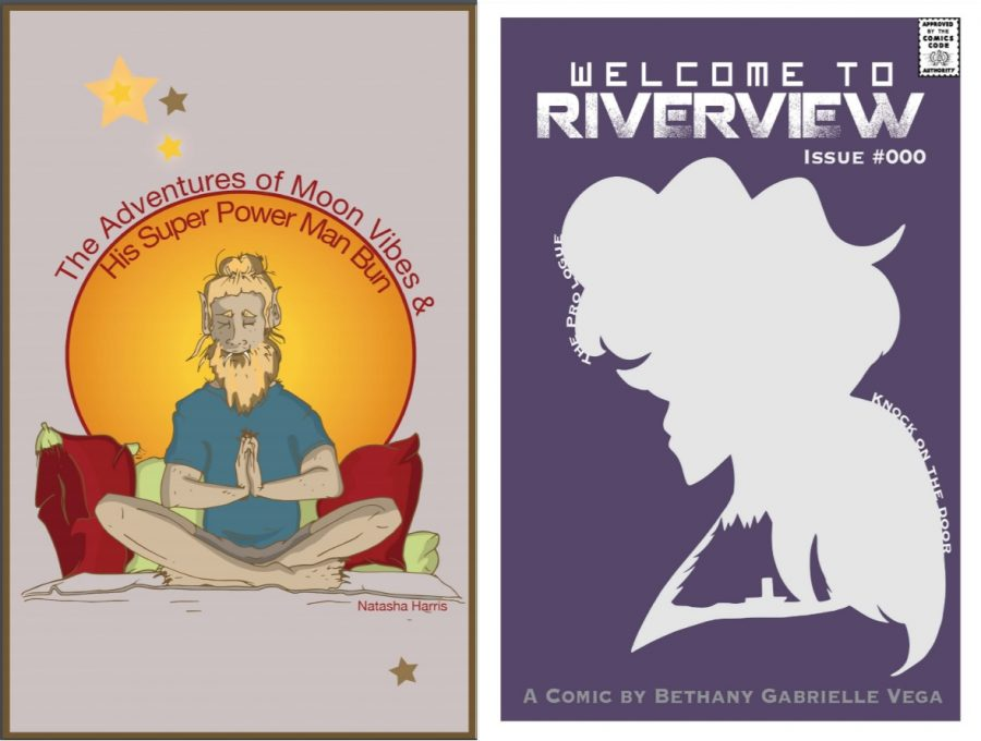 Harris got the Roz Chast Award for her zine, The Adventures of Moon Vibes & His Super Power Man Bun and Vega took home the Raina Telgemeier Award for her comic Welcome to Riverview. (Cover art courtesy of Harris and Vega)