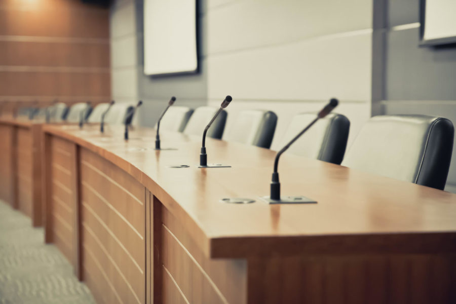 Meeting,Room,With,Professional,Microphone,On,The,Table.